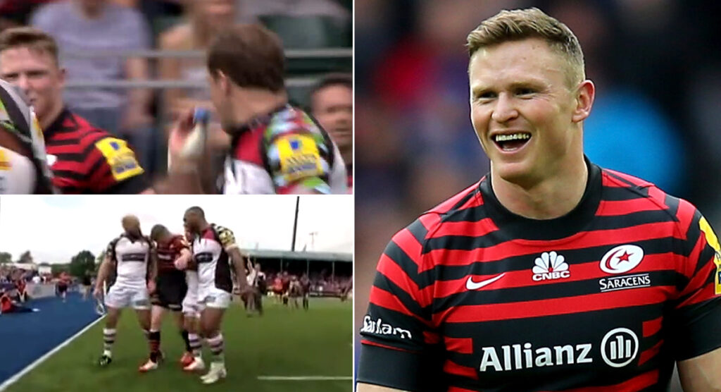 Chris Ashton shouts 'push it' as Nick Evans attempts conversion kick
