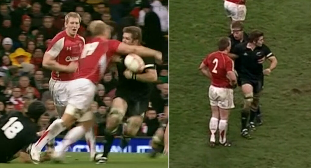 That time Andy Powell clotheslined Richie McCaw like he was looking for a WWE contract