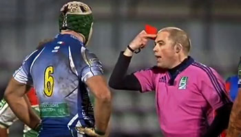 Francesco Minto red carded for head-butt on Yann Lesgourgues