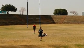 U19 player slots a mammoth 80m+ kick at training