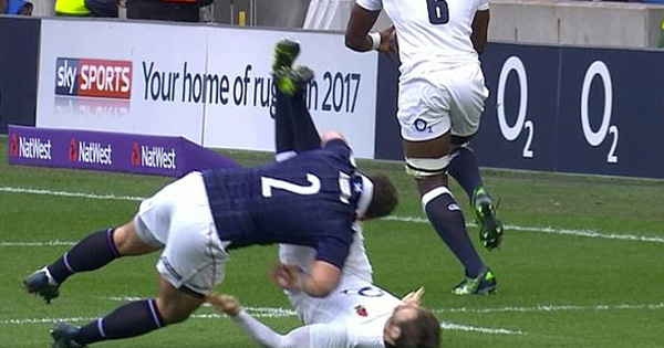 Scotland's Fraser Brown shown yellow for dangerous tackle on Elliot Daly