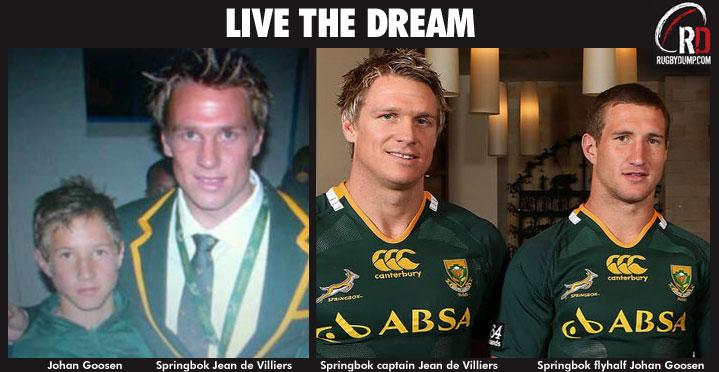 Johan Goosen with hero Jean De Villiers - Live the Dream