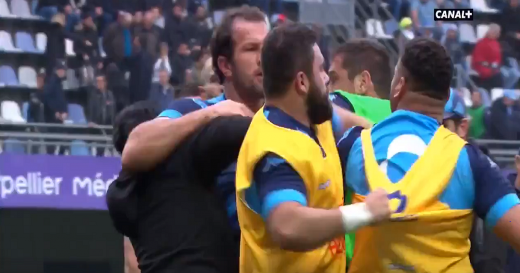 Bismarck du Plessis and Montpellier teammate fight in warm-up!