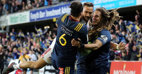 Aaron Cruden gets stuck in Highlanders celebration after brilliant try