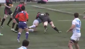 Canadian lock Aaron Flagg nails two Argentines in the same passage of play