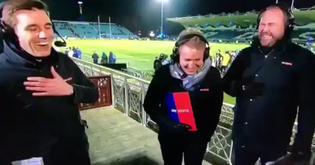 Presenter Alex Payne falls during live broadcast