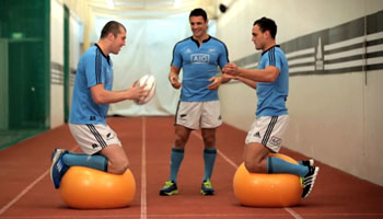Dan Carter, Israel Dagg and Brodie Retallick test their balance