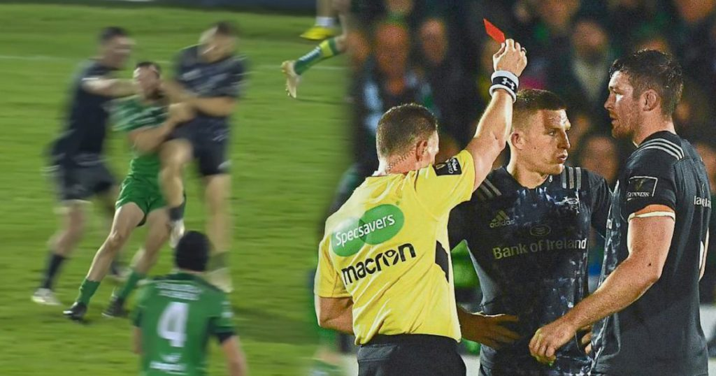 Munster's Andrew Conway suspended after red card for reckless late tackle