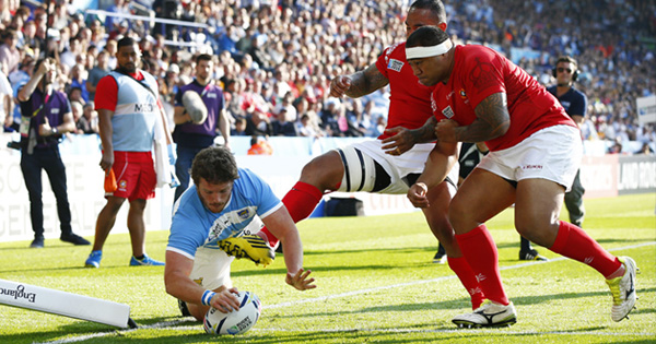 Argentina and Tonga score great tries in entertaining Pool C clash