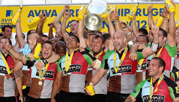 Harlequins beat Leicester Tigers to win the 2012 Aviva Premiership title