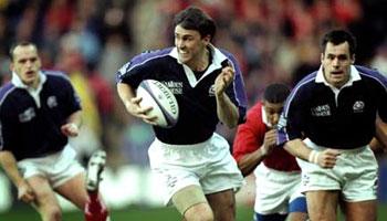 John Leslie scores the fastest ever international try in 1999
