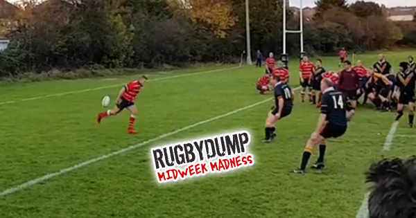 Perfectly executed back heel kick 100m try goes viral