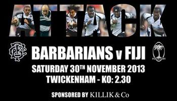 Barbarians vs Fiji Centenary Match at Twickenham - 20% Off Discount
