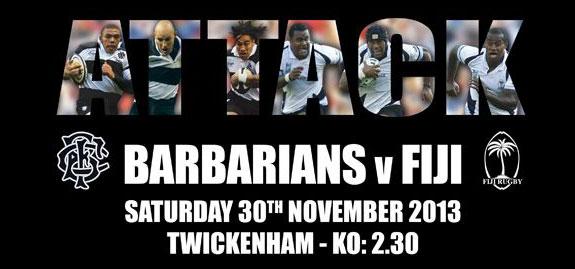 Barbarians v Fiji Centenary Match - 30th Nov. Special 2 for 1 Early Bird Ticket Offer