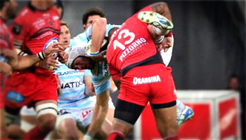 Mathieu Bastareaud big dump tackle on Jaques Cronje in Top 14 semi final