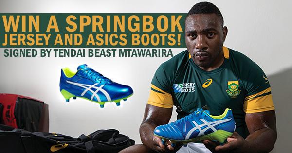 WIN Beast Mtawarira signed Springbok jersey and ASICS boots