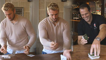 Martin Bayfield and Chris Robshaw in the QBE Beermat Flipping Challenge