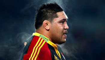 Prop Ben Tameifuna's big charge against the Blues