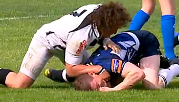Brian O'Driscoll dumped off the ball by Mauro Bergamasco