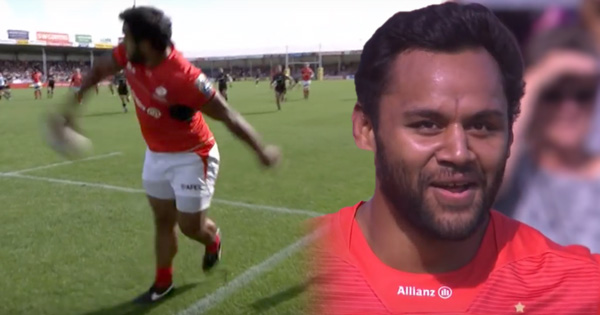 Billy Vunipola tries to keep ball in play with near disastrous result