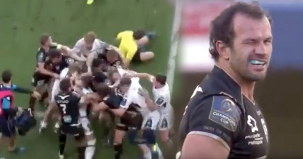 Referee knocked over then spat out of Montpellier and Glasgow Warriors brawl