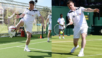 Brian O'Driscoll takes on Tim Henman in HSBC Skills Challenge at Wimbledon