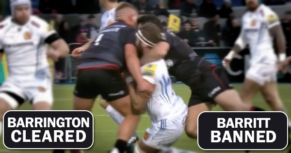 Barrington cleared while Barritt gets banned after no card