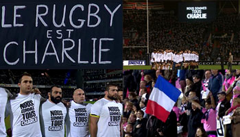 French rugby shows solidarity after Charlie Hedbo terror attacks in Paris