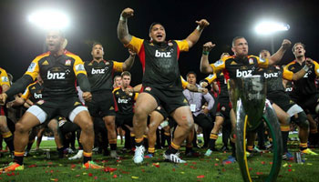 The Chiefs celebrate Super Rugby victory with stirring Haka
