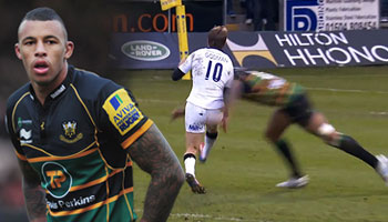 Courtney Lawes returns to Premiership with huge tackle on Phil Godman
