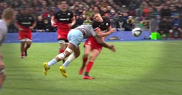 Courtney Lawes demolishes Owen Farrell with another trademark tackle