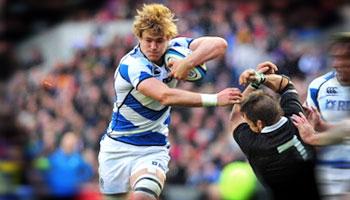 Scotland's David Denton puts Richie McCaw on his backside