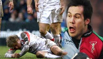 De Wet Barry red card shoulder hit on Matthew Tait
