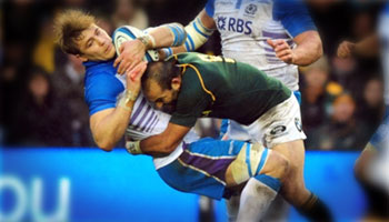 Scrumhalf Fourie du Preez's big tackle on number eight Dave Denton