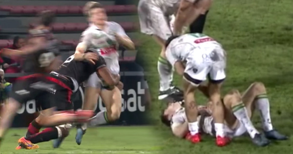 Thierry Dusautoir blind-sides Colin Slade with punishing tackle