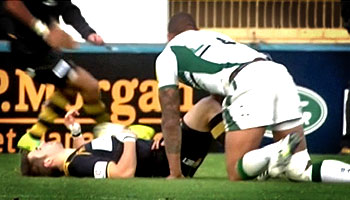 Courtney Lawes big tackle on Wasps flyhalf Nicky Robinson