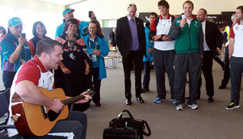 Ireland's Damien Varley provides some airport entertainment