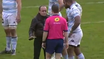Rugby fan invades pitch to have a chat with the referee