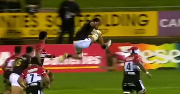 Friday Funnies - Vaea Fifita avoids the tackle with perfectly executed jump