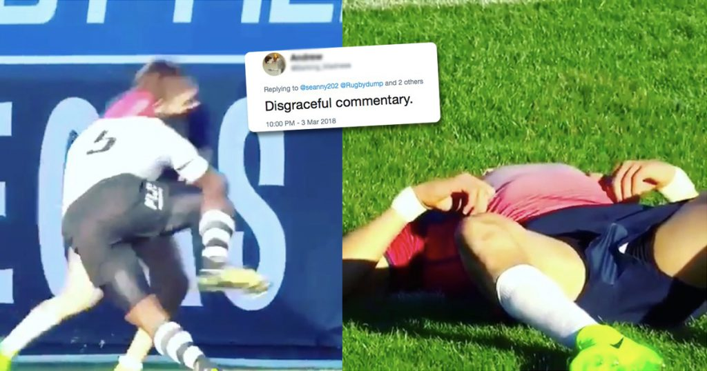 Commentators accused of glorifying illegal play after this huge Fijian tackle