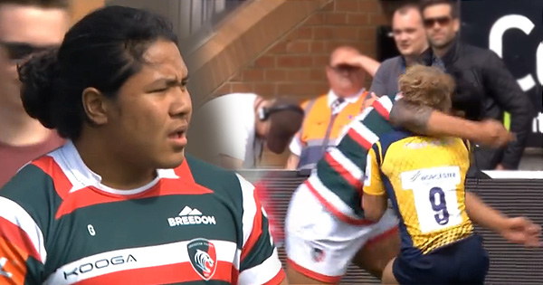 Fred Tuilagi Junior yellow carded for high tackle just 7 seconds from kickoff