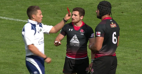 Georgian flanker sent off for kicking Irish player in U20s match