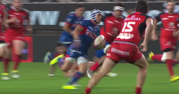 Gio Aplon glides through Toulouse defence for stunning solo try