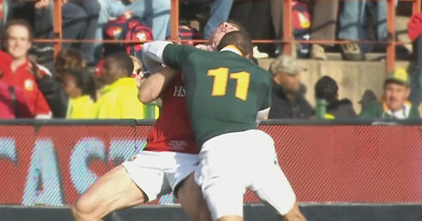 Bryan Habana's massive hit on Lions winger Tommy Bowe in 2009