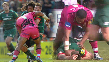 Chris Hala'ufia huge hit then red card for shoving player's head into the dirt