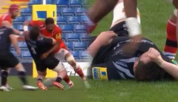 Hard hitting Chris Hala'ufia crunches but then slaps Scott Wilson