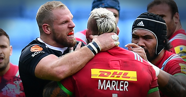 James Haskell loses his cool with Joe Marler after water and choke incidents