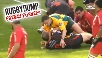 Friday Funnies - Matt Henjak high tackled by the referee