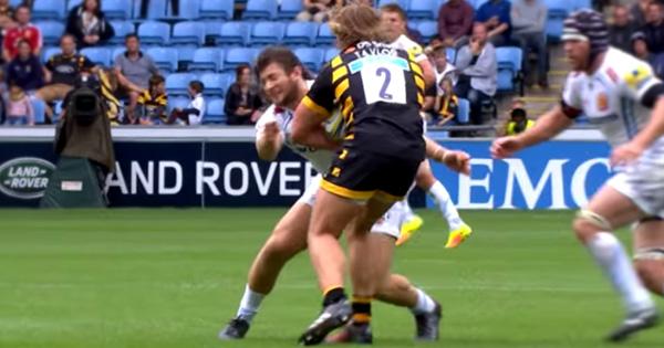 Prop Alec Hepburn flies into hooker Tommy Taylor to make huge tackle