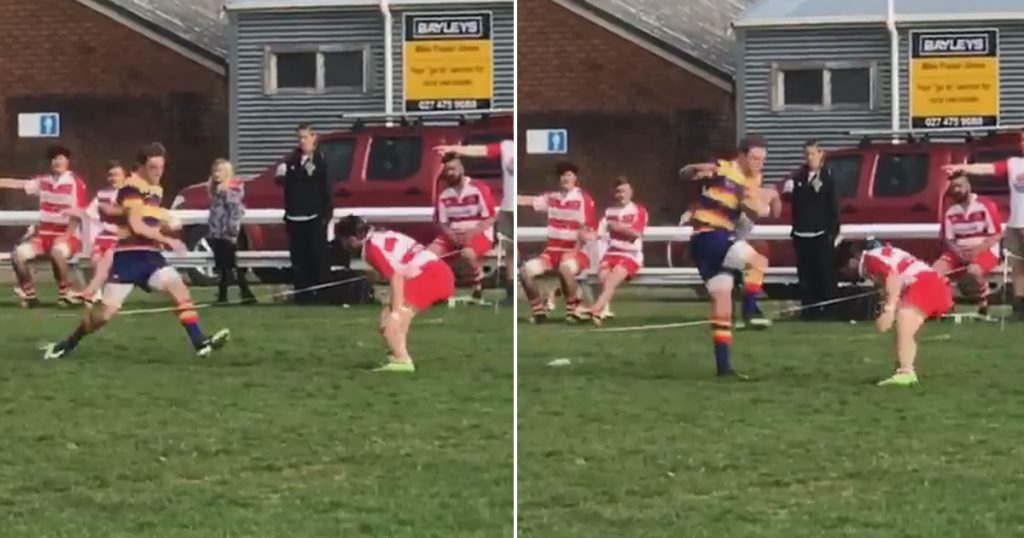 Midweek Madness - Tackler gets thin air as winger miraculously flies over him